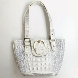 Wittchen Made In Italy White Leather Croc Embossed